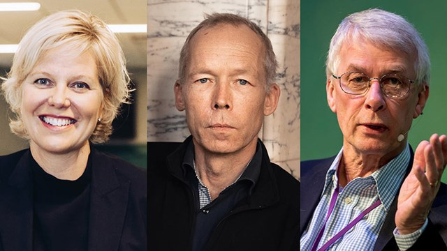 Ett collage med tre bilder föreställande Anna Sjöström Douagi, forskaren Johan Rockström och Nobelpristagare Richard J. Roberts.